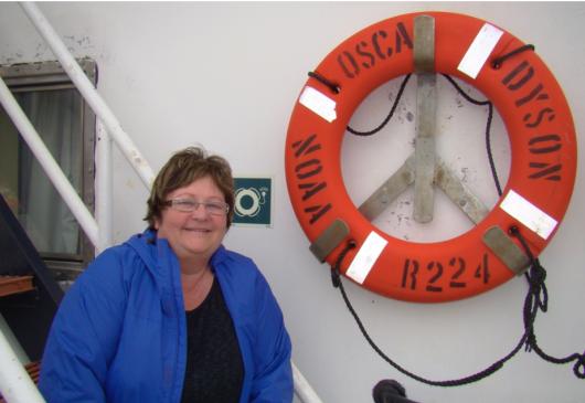 Joan Shea-Rogers aboard NOAA ship Oscar Dyson