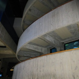 The spiral-shaped ramp at the New England Aquarium