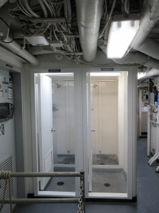 Showers and changing stalls on ship