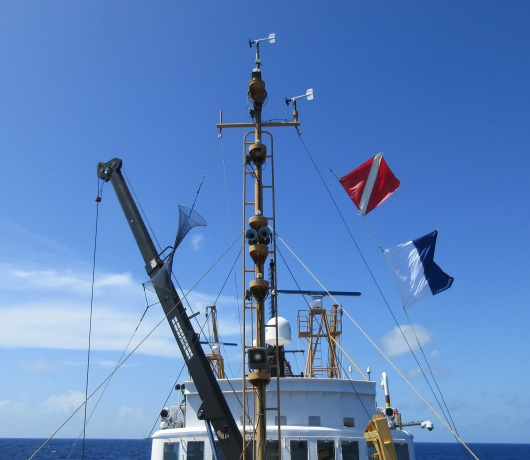Two dive safety flags hoisted over the Oregon II.