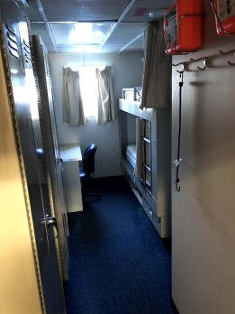 My stateroom which I share with Charlie, a volunteer college student