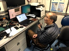 Scientist Dezhang Chu leads the calibration from the acoustics lab