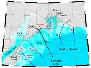 Transect lines for the North Gulf of Alaska Long-term Ecological Research Program.