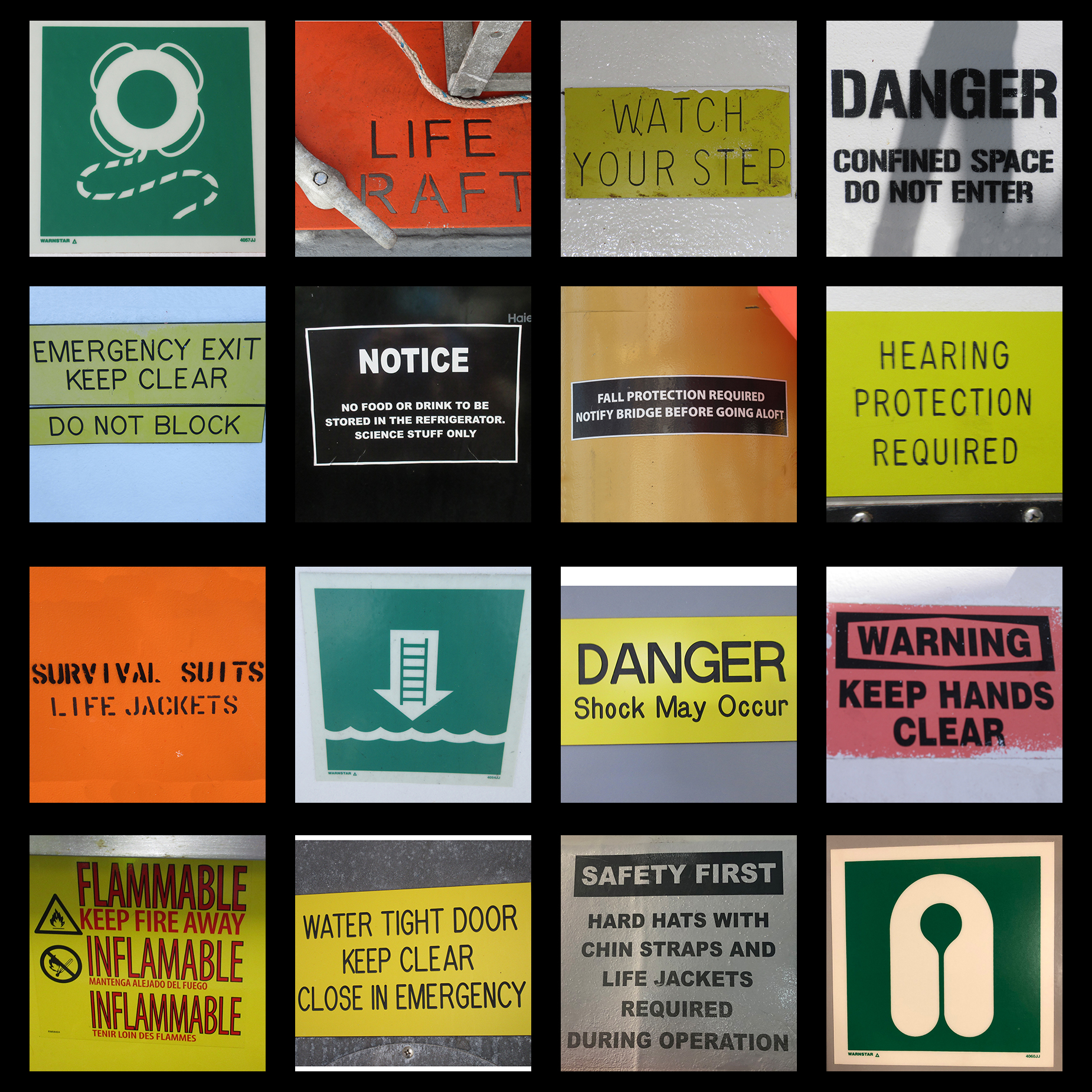 A collage of safety-related signs on the ship. Some have pictures, while others do not.