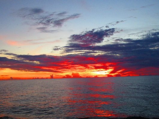 A colorful sunset on the Gulf of Mexico.