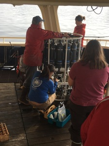 Preparing for another CTD cast. More than 60 CTD casts were made during our cruise.