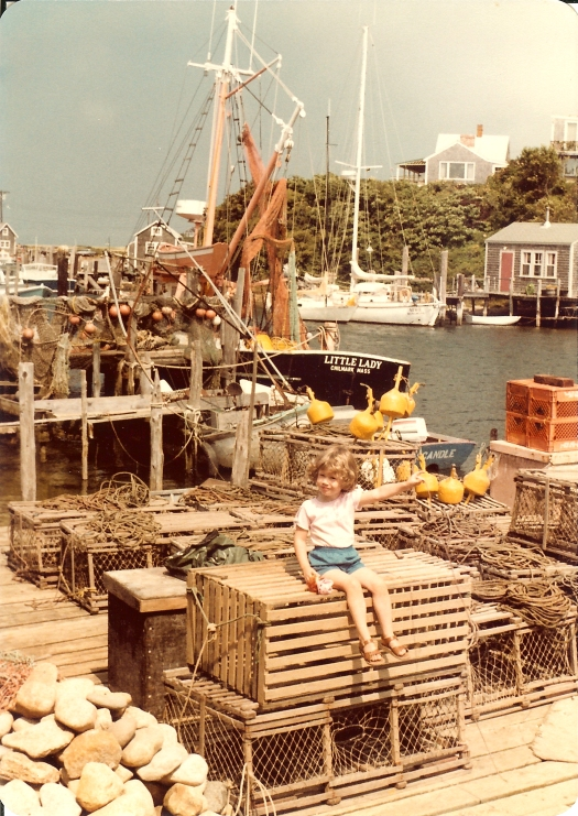 Teacher at Sea Anne Krauss visiting a New England dock as a young child.