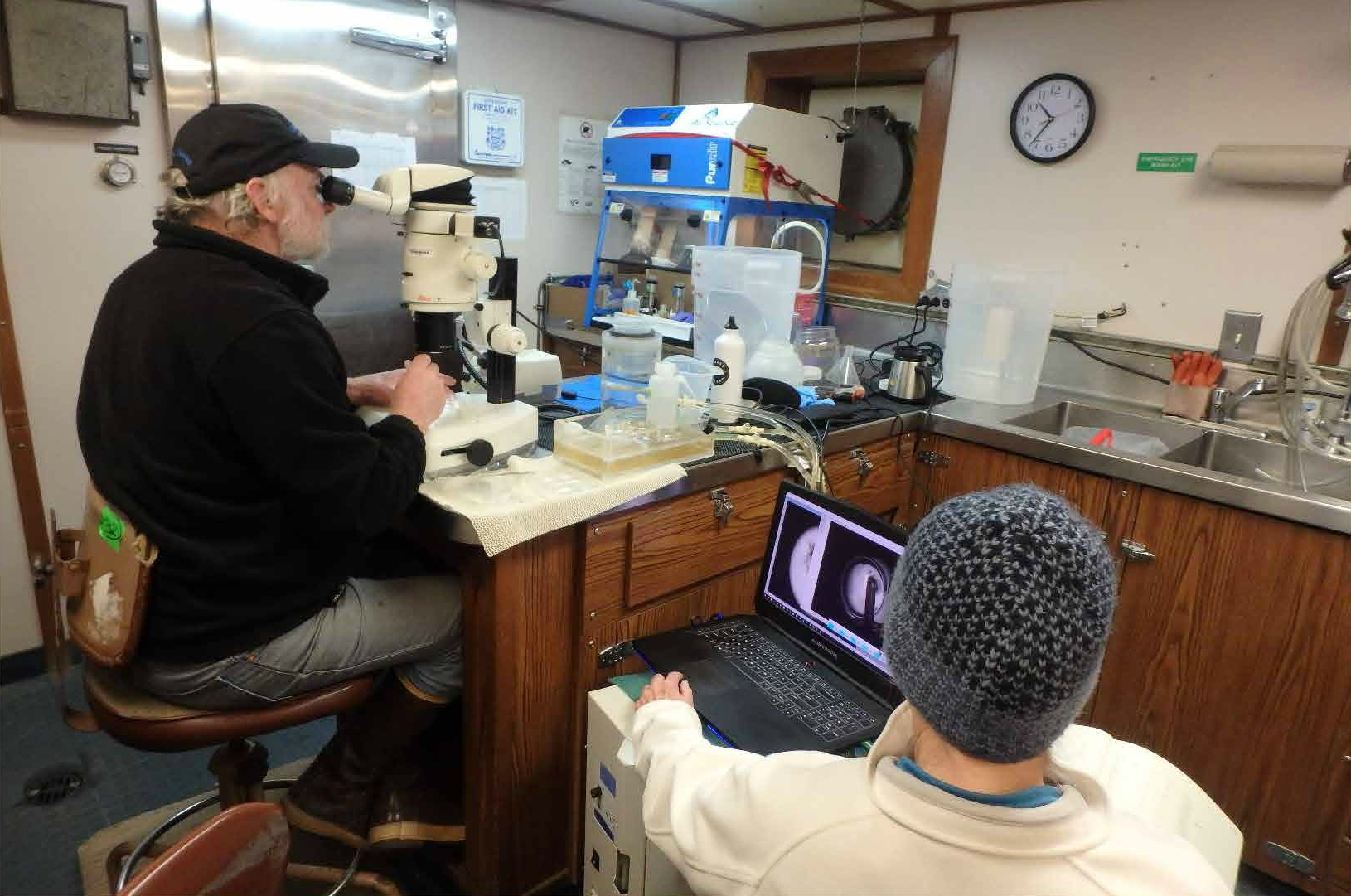 A scientist sits at a microscope connected to a computer; another scientist manages a laptop displaying the microscope's view