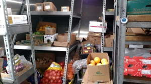 Cold food stores, stocked at port with the help of all of the crew