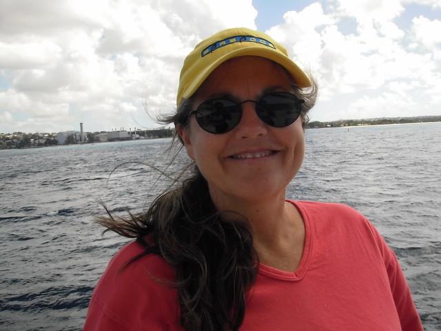 Meg on catamaran
