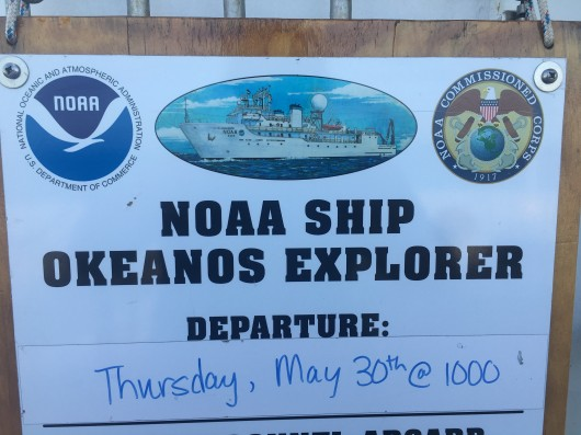 Ship sign board showing departure date
