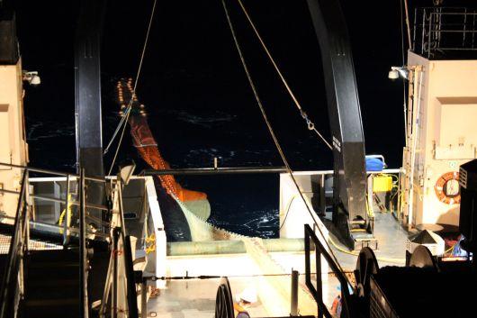 Trawl Net Snaking off the Stern