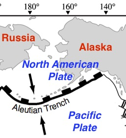 Aleutian Trench tectonic map