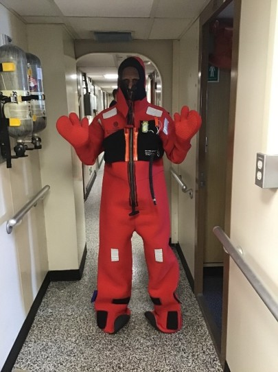 Kannan in survival suit