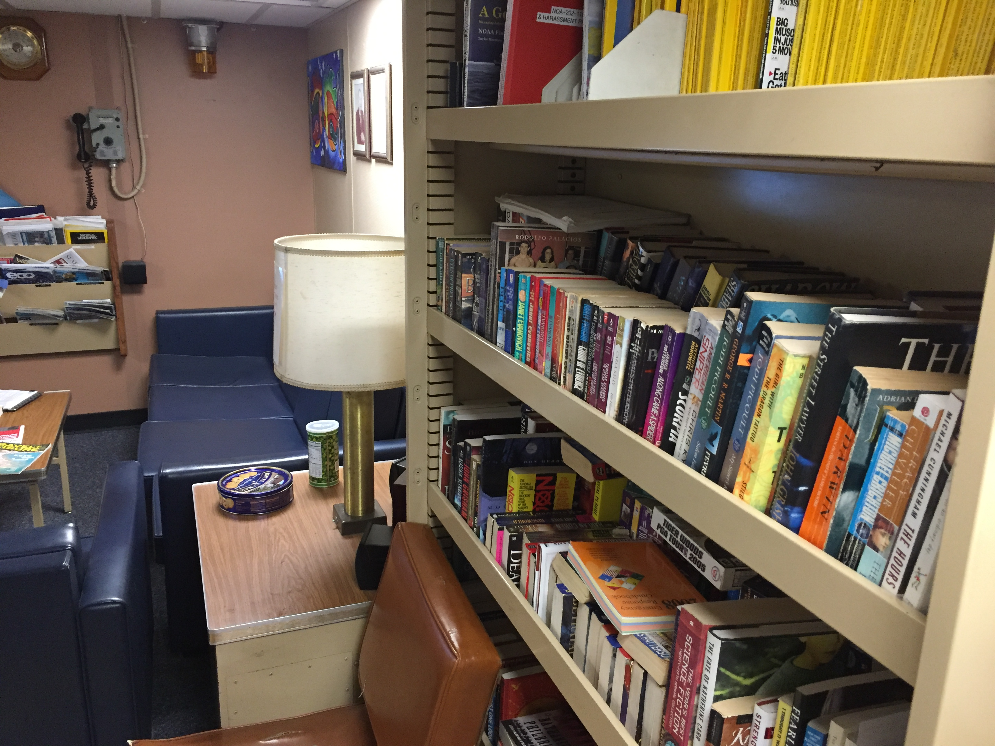 The lounge and library on board