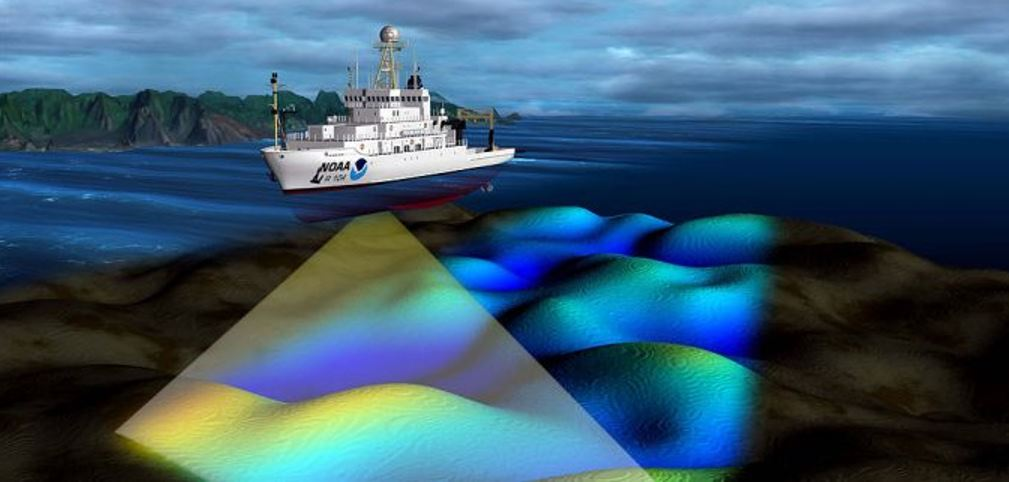 Multibeam sonar illustration