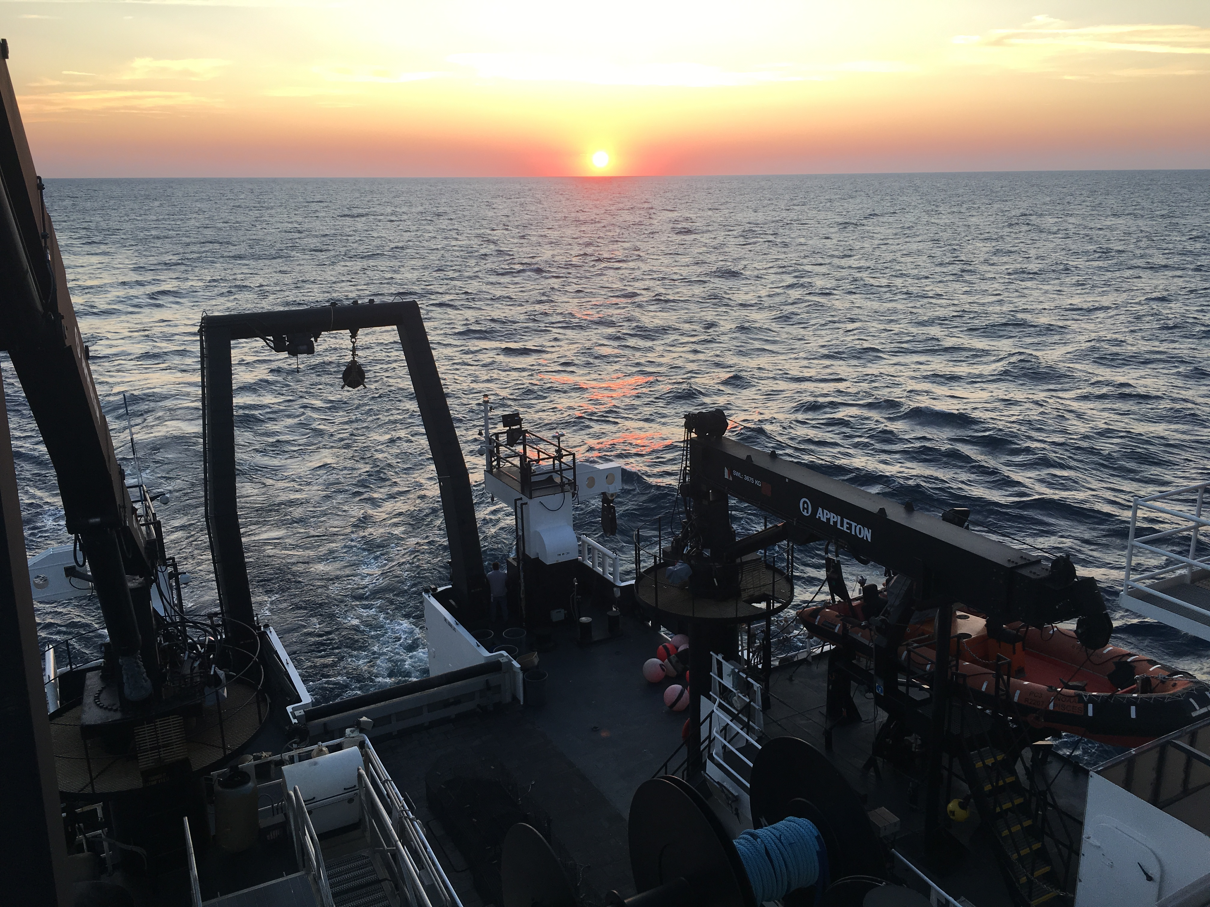 sunset over aft deck
